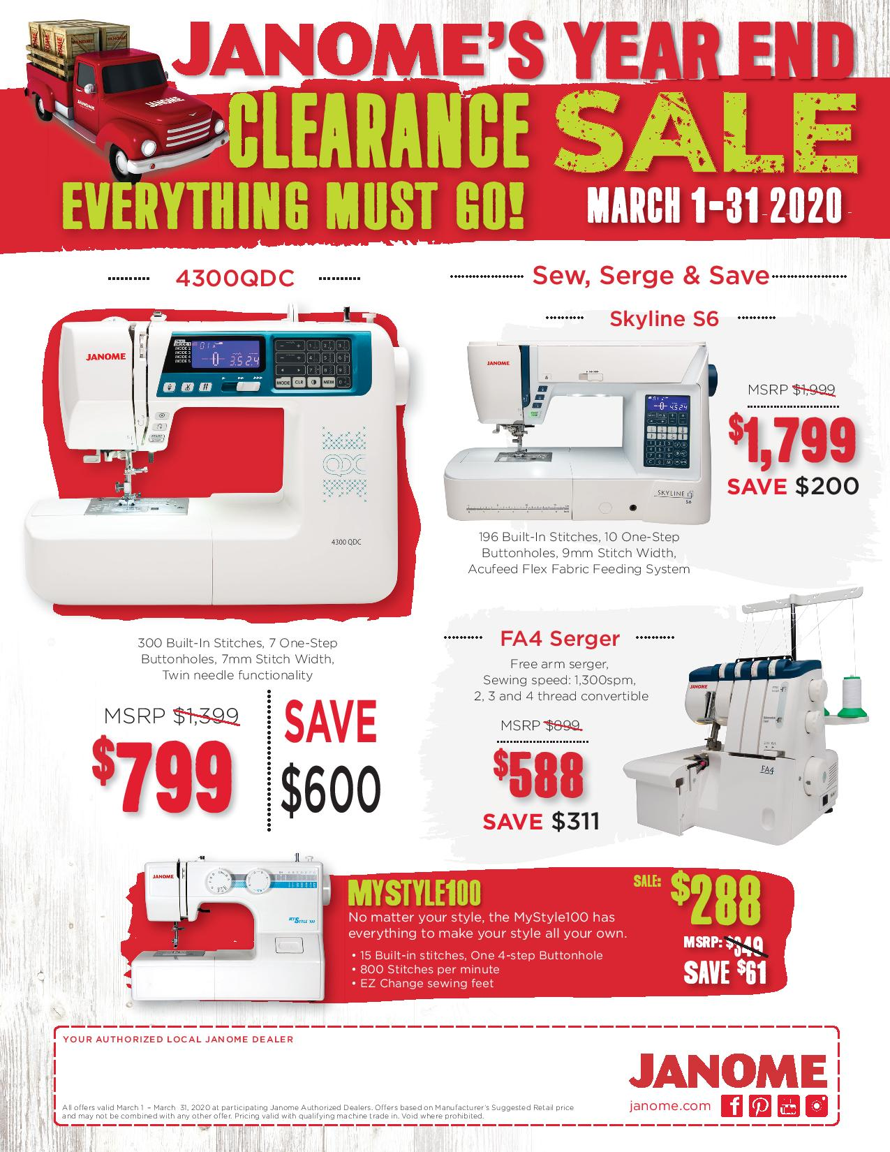 Janome March Promotions
